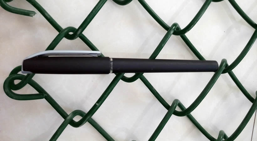 A piece of green PVC coated chain link fence, a black pen on it, two square mesh length equals the length of the pen.